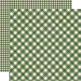 "Jingle All the Way - Evergreen Plaid/Gingham Double Sided 12x12"" - Unit of 5"