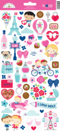 French Kiss Icon Stickers    - Unit of 3
