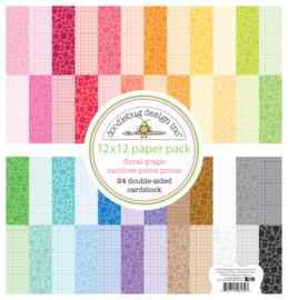 Floral-Graph Rainbow Petite Prints 12x12 Paper Pad - Unit of 1