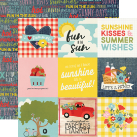 "Summer Farmhouse 4x4 Elements Double Sided 12x12"" - Unit of 5"