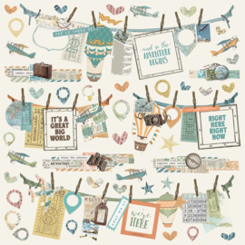 Simple Vintage Traveler Banners Stickers Sheet - Unit of 3