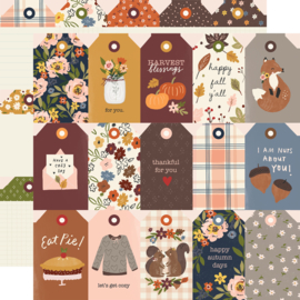 "Cozy Days Tags Double Sided 12x12"" - Unit of 5"