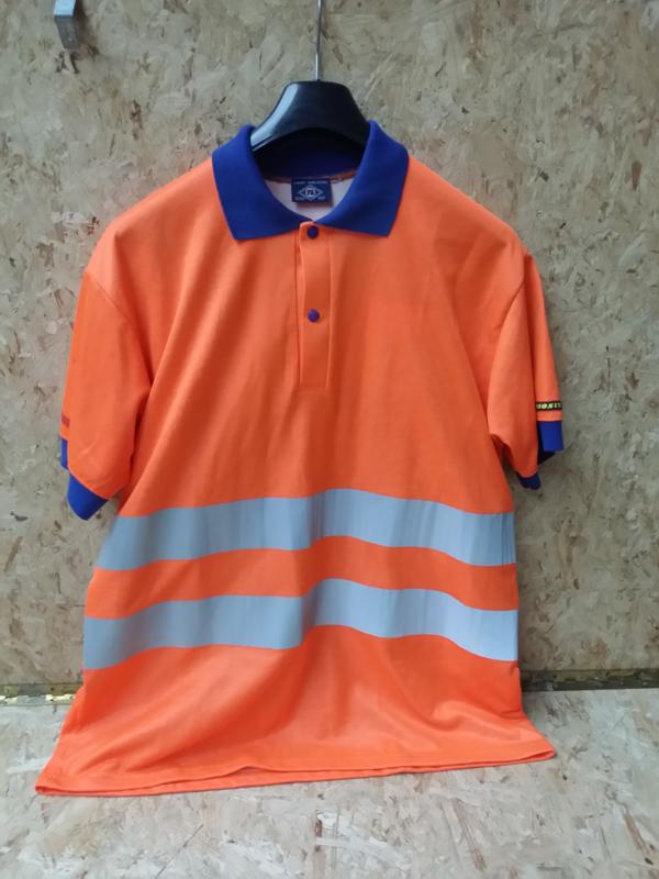 Poloshirt F. Engel signaal Oranje met reflectiestrepen