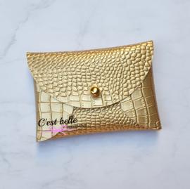 Pouchy clutch || tasje portemonneetje krokodillen motief goud