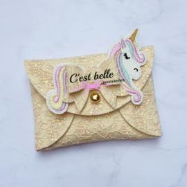 Pouchy clutch unicorn || tasje portemonneetje geel kant
