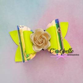 Luxe haarstrik large neon geel bloem