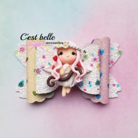 Luxe Enchanted haarstrik large Valentijnsdag Cupido meisje roze