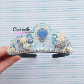 Tiara diadeem frozen stijl blauw/wit bling