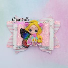 Luxe haarstrik large magische fee blond/roze