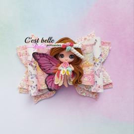 Luxe haarstrik large magische fee roze/koraal/geel
