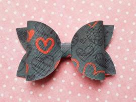 Basic haarstrik medium grijs met hartjes
