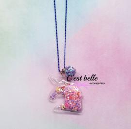 Ballchain ketting magische eenhoorn/unicorn kobalt blauw