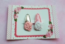 Setje babyhaarspeldjes 'silver & pink kitty'