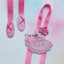 Haarstrik/haarclip houder ballerina fuchsia roze