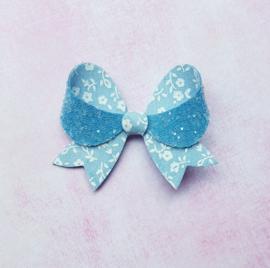 Fancy haarstrik small blauwe bloemetjes