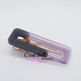 Resin/epoxy luxe haarclip zwart/antraciet - lila