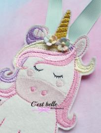 Haarstrik/haarclip houder unicorn pastel mintgroen