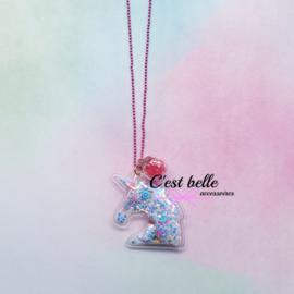 Ballchain ketting magische eenhoorn/unicorn roze/parelmoer