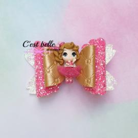 Luxe Enchanted haarstrik large ballerina roze/donkerroze