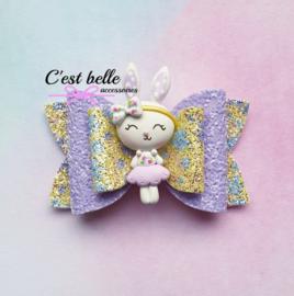 Luxe haarstrik medium Pasen konijntje paars