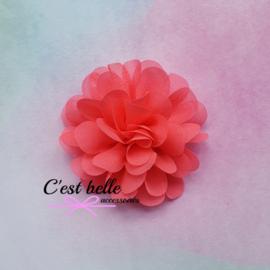 Chiffon haarbloem 7cm neon koraal
