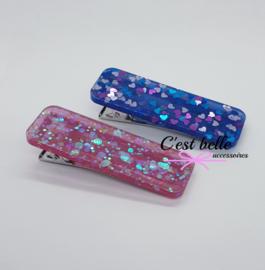 Resin/epoxy luxe haarclip set roze/blauw