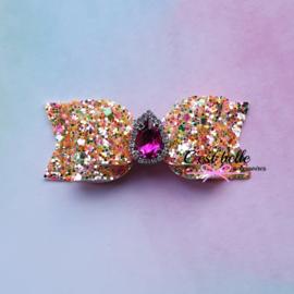 Luxe haarstrik medium grove glitter roze bling steen