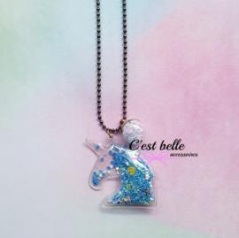 Ballchain ketting magische eenhoorn/unicorn grijs/antraciet