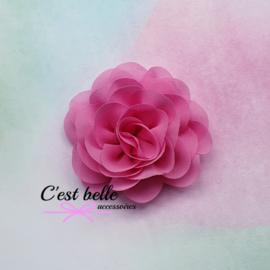 Chiffon haarbloem roos 8,5cm Z8 roze