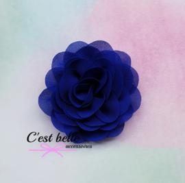 Chiffon haarbloem roos 8,5cm kobalt blauw
