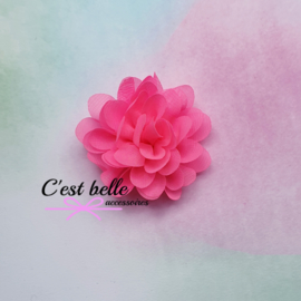 Chiffon haarbloem 7cm neon roze