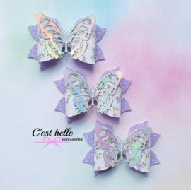 Luxe haarstrik large holografische vlinder paars 1st