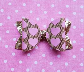 Basic haarstrik small goud met roze hartjes