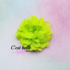 Chiffon haarbloem 6,5cm neon geel