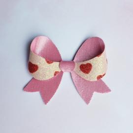 Fancy haarstrik medium roze hartjes