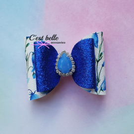 Luxe haarstrik medium kobalt blauw bloemen