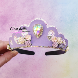 Tiara diadeem paars/lila bloemetjes