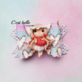 Luxe Enchanted haarstrik medium Valentijnsdag hartjes meisje
