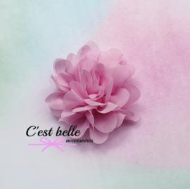 Chiffon haarbloem 7cm Z8 roze