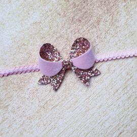 Fancy haarstrik small roze/fluweel op haarband