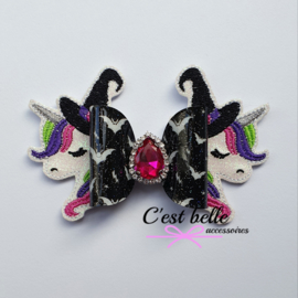Luxe Halloween unicorn heks haarstrik large
