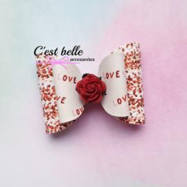 Luxe haarstrik medium Valentijnsdag love