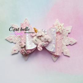 Luxe haarstrik large magische winter unicorn roze