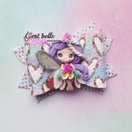 Luxe haarstrik large magische fee paars