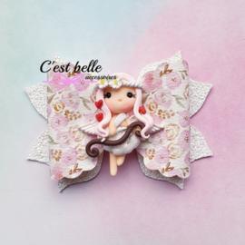 Luxe Enchanted haarstrik large Valentijnsdag Cupido meisje roze bloemetjes