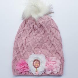 Wintermuts roze met bloemen en luxe bling applicatie