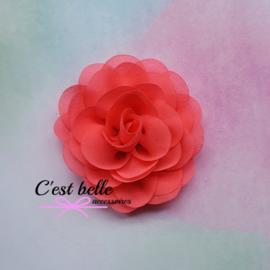 Chiffon haarbloem roos 8,5cm neon koraal