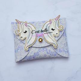 Pouchy clutch unicorn || tasje portemonneetje paars lila kant