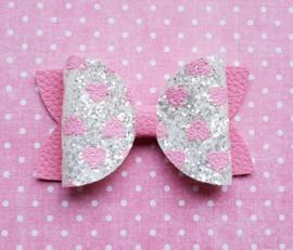 Basic haarstrik roze glitter hartjes