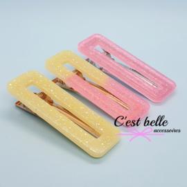 Resin/epoxy luxe haarclip set roze/geel